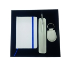 Coffret bloc-notes + stylo + porte-clés white