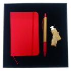 Coffret bloc-notes + stylo + clé USB Red Nature