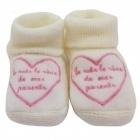 Chaussons coton blanc-cassé broderie rose