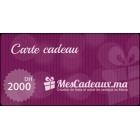 Carte Cadeau MesCadeaux.ma d'une valeur de 2000 dhs