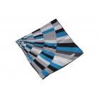 Foulard Duchesse de soie imprimé - Motifs en demi-cercles- Turquoise