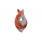 Foulard imprimé effet 100% soie - Motifs élipses - Orange