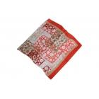 Foulard Satin de soie imprimé - Motifs circulaires - Marron