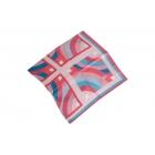 Foulard Satin de soie imprimé - Motifs en demi-cercle - Rose