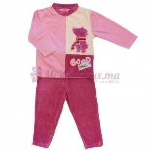 Pyjama velours rose clair