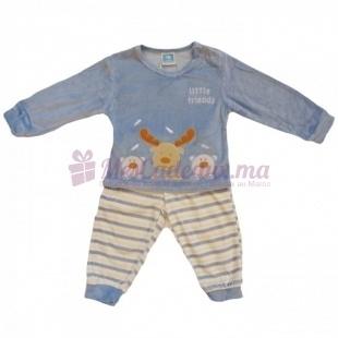 Pyjama velour rayures bleu