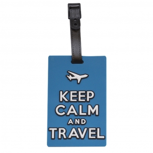 Étiquette bagage Keep Calm and Travel bleu