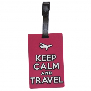 Étiquette bagage Keep Calm and Travel rose