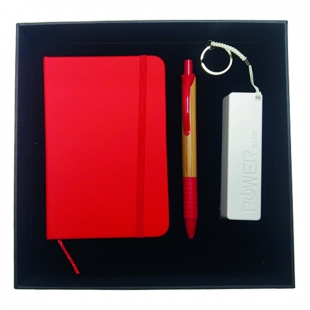 Coffret bloc-notes + stylo + power-bank red