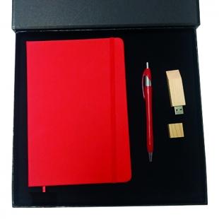 Coffret bloc-notes + stylo + clé USB Red