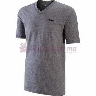 T Shirt Col V Ad Gris - Nike - Homme