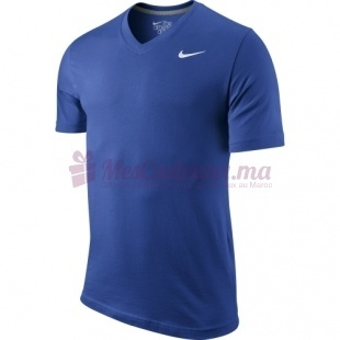 T Shirt Col V Ad Bleu - Nike - Homme