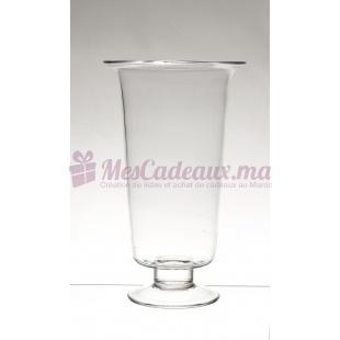 Grand Vase Sur Pied Transparent - Pierre Boisée - Tanger