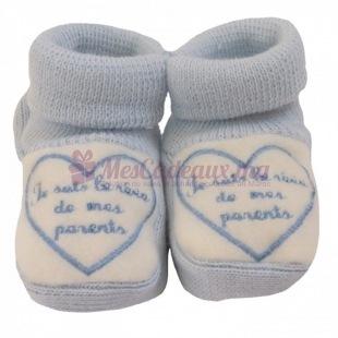 Chaussons coton bleu broderie bleue