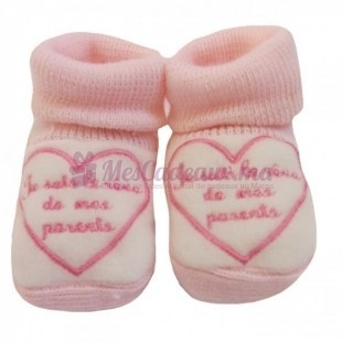 Chaussons coton rose broderie rose