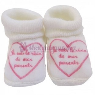 Chaussons coton blanc broderie rose