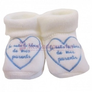Chaussons coton blanc broderie bleu