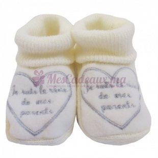 Chaussons coton blanc-cassé broderie grise