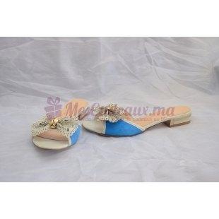 Chaussures italiennes cuir blanc peau retournée bleu