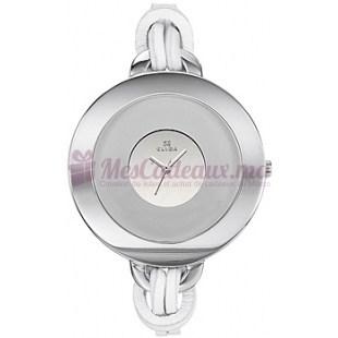 Montre - Clyda De Paris - Bracelet Cuir Blanc Cla0327Ranf