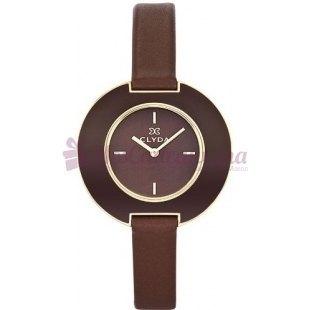 Montre - Clyda De Paris - Bracelet en Cuir Brun Cla0403Pmim