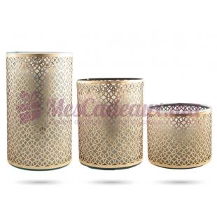 Set bougies 3 verre tube cuir