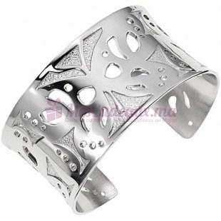 Bracelet Manchette Argenté Ajouré Motif Fleurs - Ted Lapidus D11019