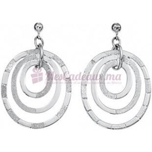 Boucles D'Oreilles Tricercles Ovales argentées - Argent - Ted Lapidus D32006
