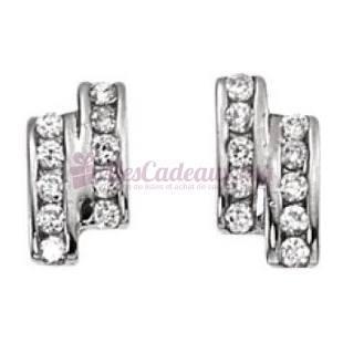 Boucles D'Oreilles Rectangulaires - Argent - Ted Lapidus D32044Z