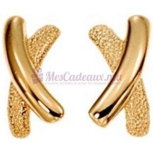 Boucles D'Oreilles En X - Plaqué Or - Ted Lapidus D33013