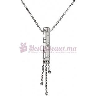 Bracelet Chaine Plaque Argenté & Pierre - Ted Lapidus D41024Z
