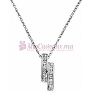 Collier Double Rectangle en Argent - Ted Lapidus D42044Z