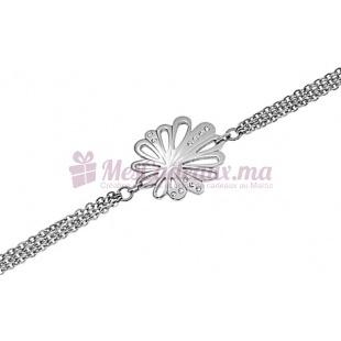 Bracelet Chaine Fine Argenté Fleur De Gerbera - Ted Lapidus D51021Z