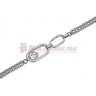 Bracelet Chaine Fine Argenté Anneau & Pierre - Ted Lapidus D51022Z