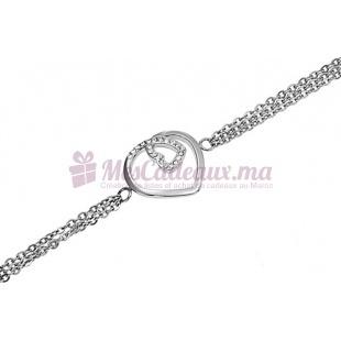 Bracelet Chaine Fine Argenté Cœur & Pierre - Ted Lapidus D51023Z