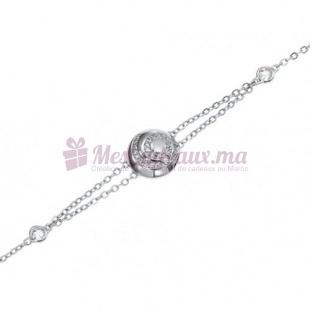 Bracelet Sphère Double Chaine - Argent - Ted Lapidus D52033Z