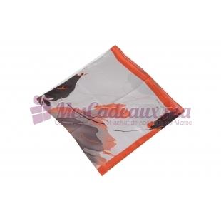 Foulard Duchesse de soie imprimé - Motifs à feuilles - Rouge