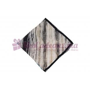 Foulard Duchesse de soie imprimé - Motifs à rayures - Turquoise