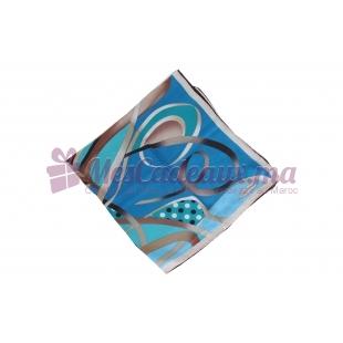 Foulard Duchesse de soie imprimé - Motifs à rubans - Bleu