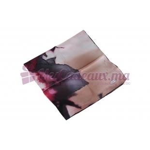 Foulard Duchesse de soie imprimé - Motifs variés - Violet
