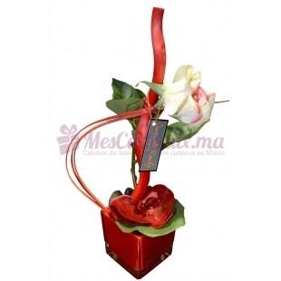 Vase carré avec orchidé