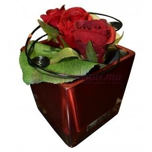 Vase Rouge avec Feuille d'orchidé