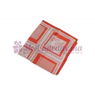 Foulard imprimé effet 100% soie - Motifs carrés Corail
