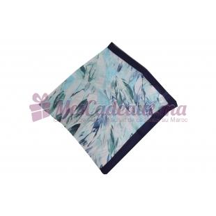 Foulard imprimé Voile de Soie - Motifs à feuilles - Turquoise