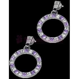 Boucles D'Oreilles Créoles Cristal Swarovski Violet & Blanc S-O46H