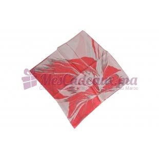 Foulard Satin de soie imprimé - Motifs à fils - Rouge