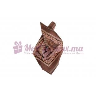 Foulard Satin de soie imprimé - Motifs à fleurs - Aubergine