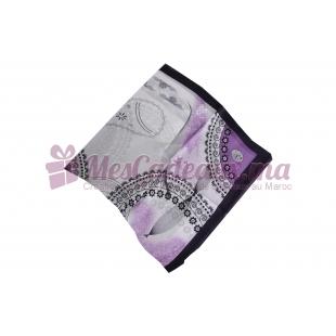 Foulard Satin de soie imprimé - Motifs à fleurs - Violet