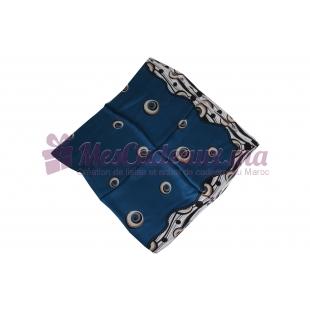 Foulard Satin de soie imprimé - Motifs à guirlandes - Bleu
