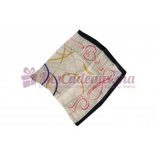 Foulard Satin de soie imprimé - Motifs à traits - Jaune